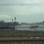 優勝翌日、新幹線から広島球場